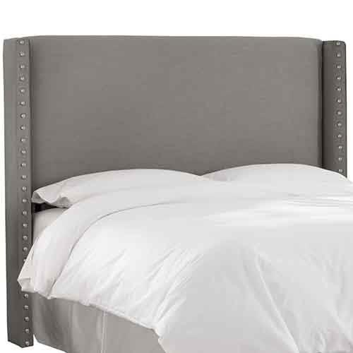 Skyline Furniture, Mfg. Linen Grey Nail Button Wingback California King Headboard