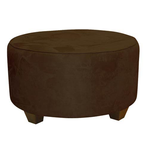 Skyline Furniture, Mfg. Premier Chocolate Tufted Round Cocktail Ottoman