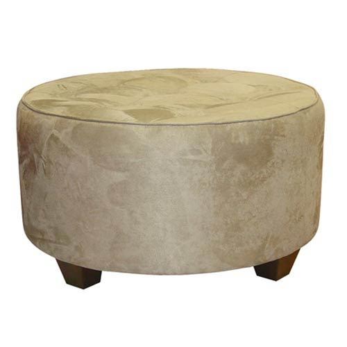 Skyline Furniture Mfg Premier Oatmeal Tufted Round Tail Ottoman