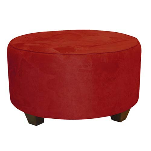 Premier Red Tufted Round Cocktail Ottoman