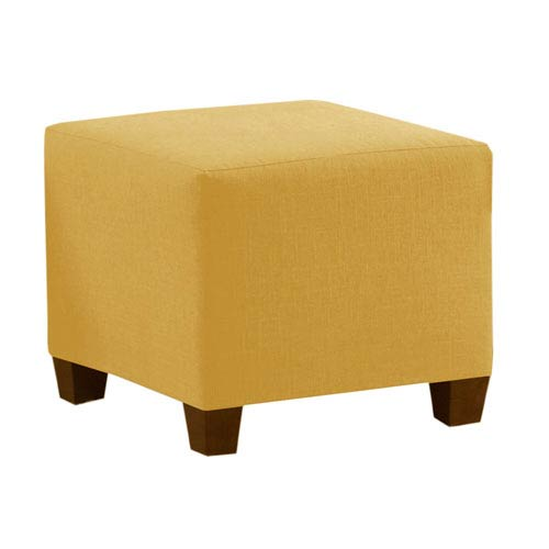 Square Ottoman in Linen French Yellow