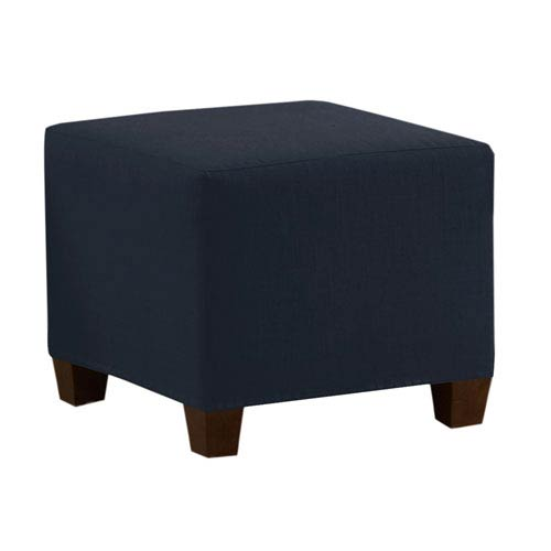 Skyline Furniture, Mfg. Square Ottoman in Linen Navy