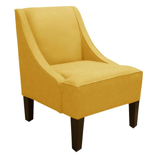 Skyline Furniture, Mfg. Swoop Arm Chair in Linen French Yellow