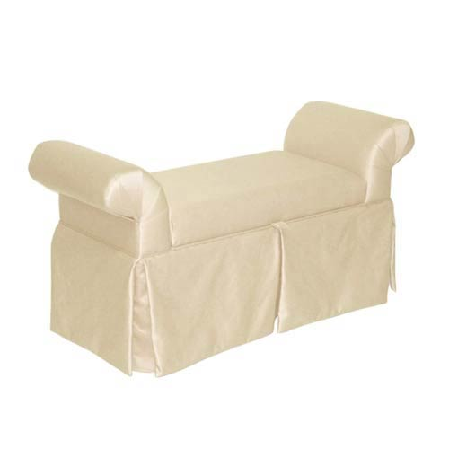 Skirted Storage Bench - Shantung Parchment