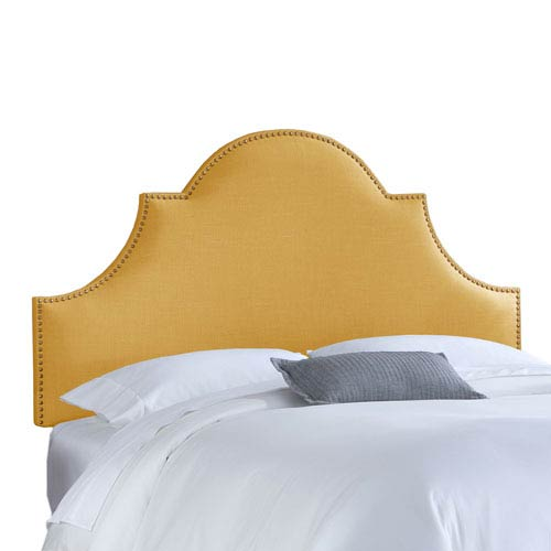Skyline Furniture, Mfg. Full Nail Button High Arch Notched Headboard in Linen French Yellow