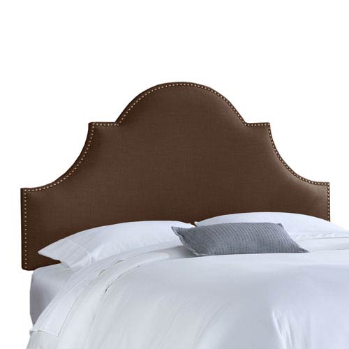Skyline Furniture, Mfg. Queen Nail Button High Arch Notched Headboard in Linen Chocolate