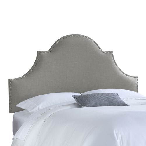 Skyline Furniture, Mfg. Queen Nail Button High Arch Notched Headboard in Linen Grey