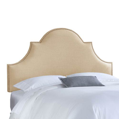 Skyline Furniture, Mfg. California King Nail Button High Arch Notched Headboard in Linen Sandstone