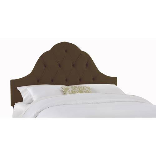 Velvet Chocolate California King Arch Tufted Headboard