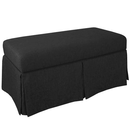 Skirted Storage Bench in Twill Black