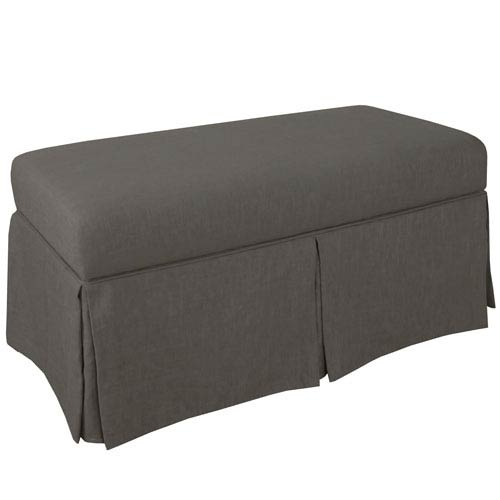 Skirted Storage Bench in Twill Grey