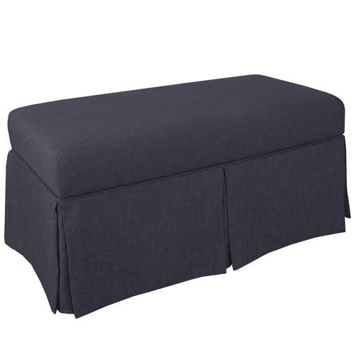 Skirted Storage Bench in Twill Navy