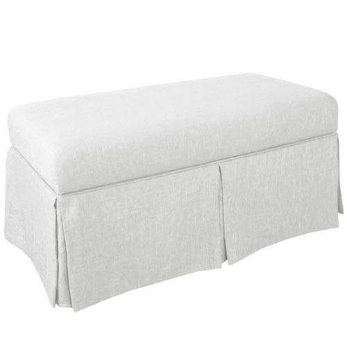 Bon Skyline Furniture, Mfg. Skirted Storage Bench In Twill White