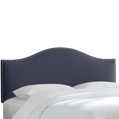 Queen Premier Lazuli Blue Nail Button Headboard