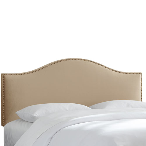 Queen Premier Oatmeal Nail Button Headboard
