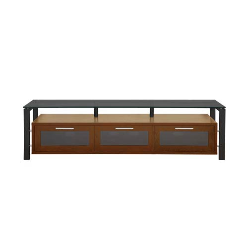 Decor 71-Inch Walnut with Black Frame and Black Glass