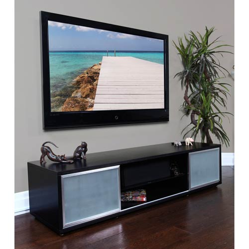 SR 75-Inch Black Oak TV Stand Silver Frame Door