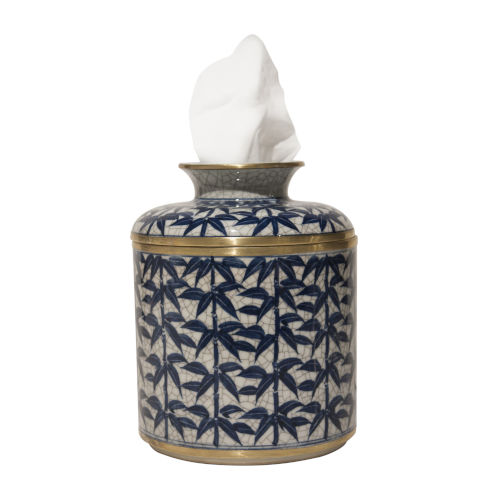 Blue White Gold Leaf Tissue Box