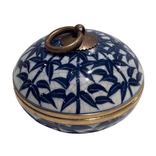 Blue White Gold Bamboo Convex Box