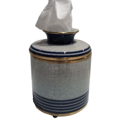 Blue White Gold Line Tissue Box