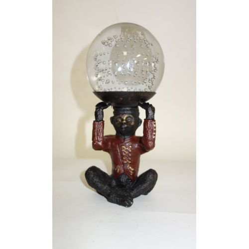 Black Red Monkey Sitting Holding Tray With Glass Ball