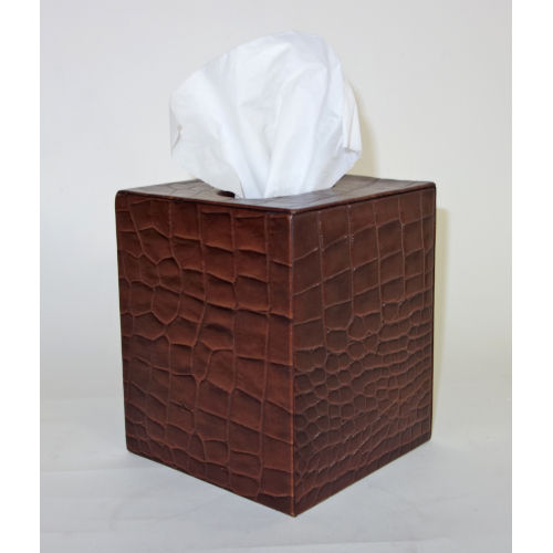 Brown Leather Tissue Box