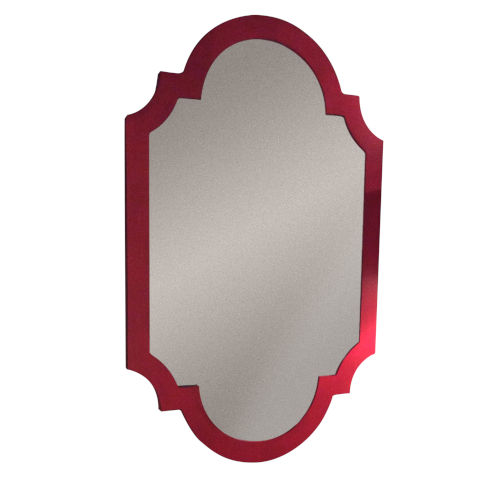 Red Asian Chippendale Mirror