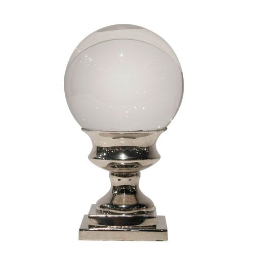 Nickel 7-Inch Tall Crystal Ball on Pedestal