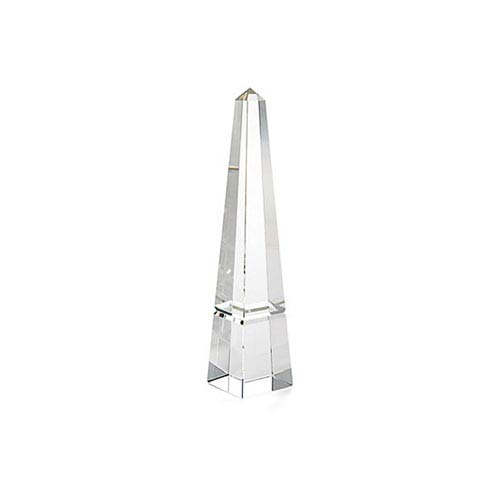 Clear 12-Inch Tall Crystal Groove Obelisk