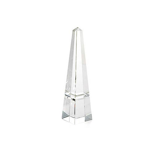 Clear 10-Inch Tall Crystal Groove Obelisk