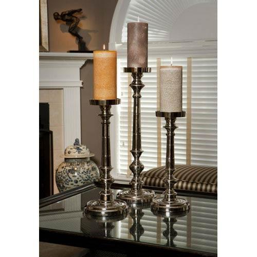 Nickel Finish Pillar Candleholder - 20 Inches Tall