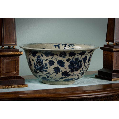Antiqued Blue and White Porcelain  Bowl