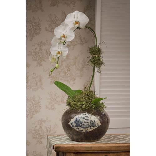 Black Porcelain Floral Planter