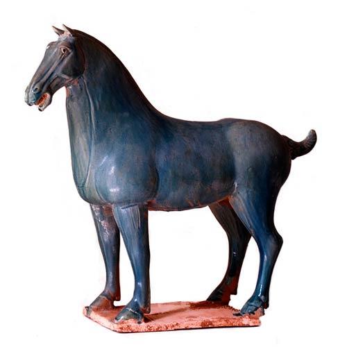 Dessau Home Blue Celedon Horse Sculpture