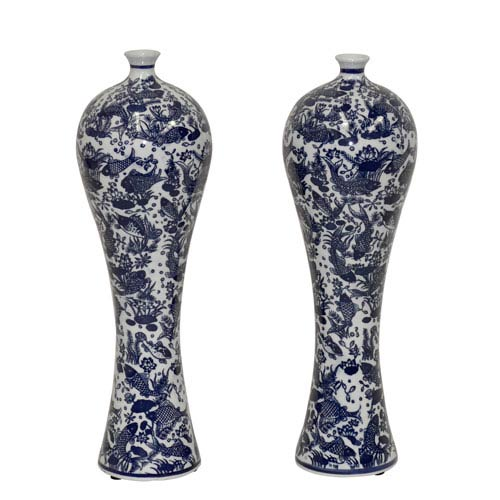 Blue and White Mei Ping Vase, Set of Two