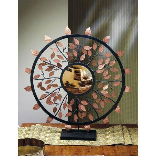 Bronze/Iron Leaf Convex Mirror with Stand