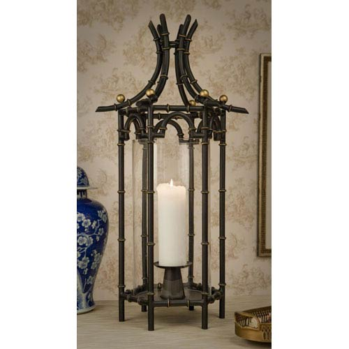 Dessau Home Black Iron Bamboo Hurricane