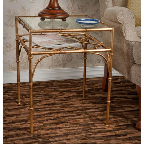 Antique Gold Bamboo Table with Beveled Glass