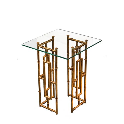 Antique Gold Bamboo Float Accent Table with Glass Top