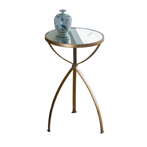 Antique Gold Accent Table with Mirror Top