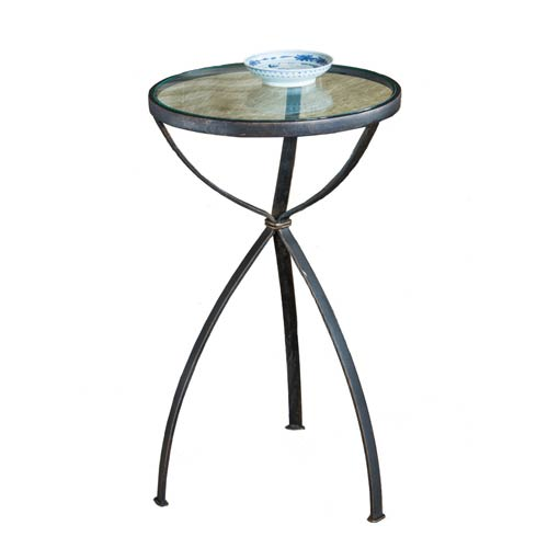 Dessau Home Bronze Accent Table with Glass Top