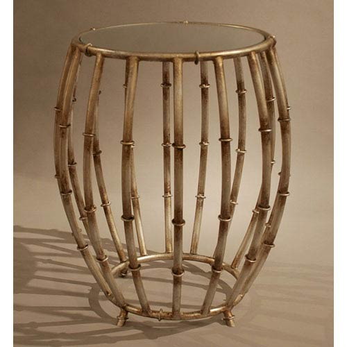 Dessau Home Antique Silver Bamboo Drum Accent Table with Mirror Top