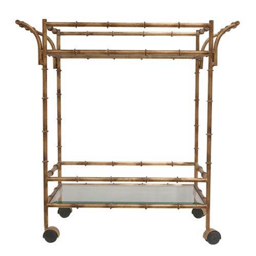 Antique Gold Bamboo Tea Cart