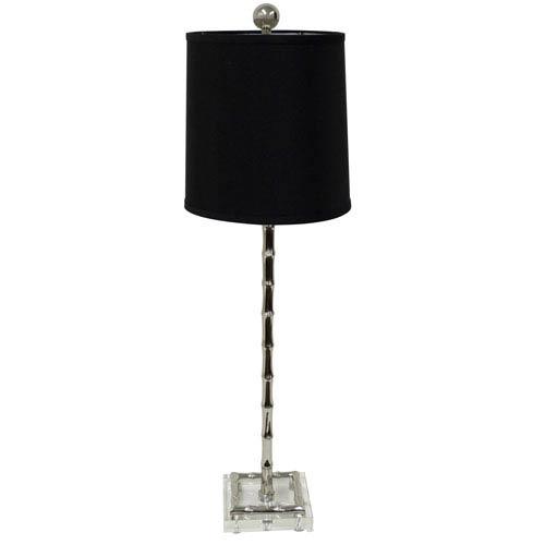 Nickel One-Light Bamboo Crystal Lamp
