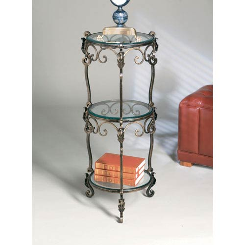 Bronze Three-Tier Iron Acanthus Leaf Table with Beveled Glass