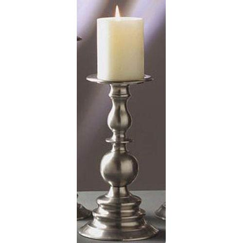 Dessau Home Pewter Pillar Candleholder - 10 Inches Tall
