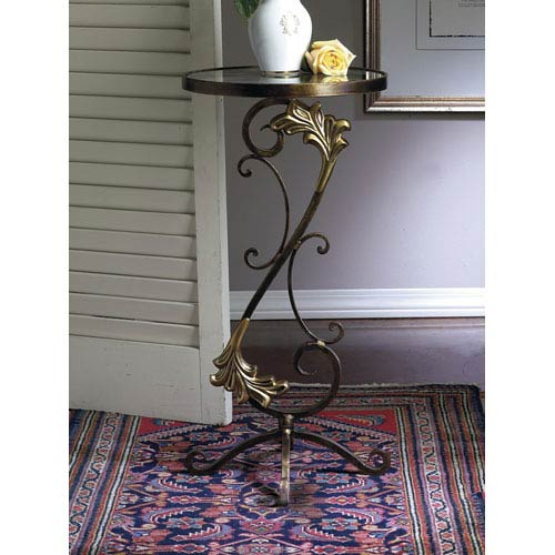 Florence Bronze Iron End Table Bronze with Brass Medallions