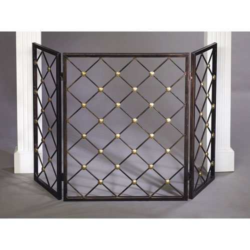 Bronze Button Iron Firescreen with Brass Accents