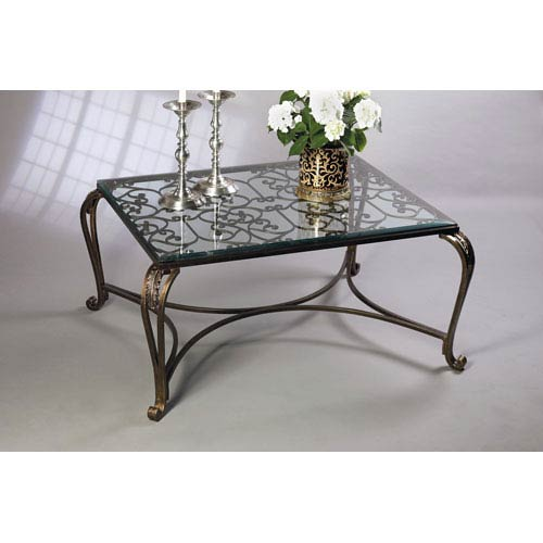 Dessau Home Bronze Acanthus Leaf Coffee Table With Antique Brass Medallions  And Beveled Glass