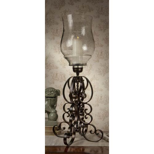 Bronze Iron Scroll Hurricane with Hammered Globe - 42 Inches Tall